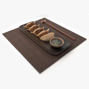 dumplings gyoza 3D model