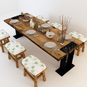 3D vintage dining tables model
