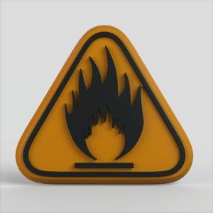 3D warning flammable model