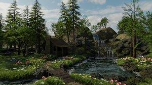 3D abandoned house scene pine model