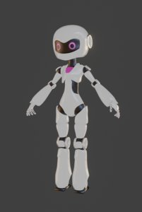 female cute robot character 3D model