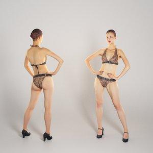 photogrammetry human beautiful young woman 3D