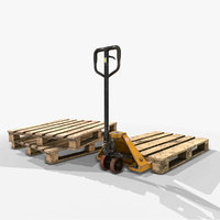 Pallet Jack with Pallets - Low Poly