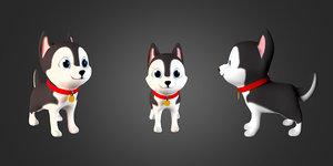 3D cute cartoon serbian husky