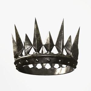 old medieval dark crown 3D model