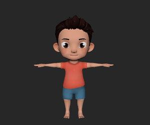 cute cartoon kid toddler 3D model
