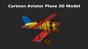 3D cartoon aviator plane