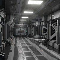 Sci fi Modular Corridor  interior game ready