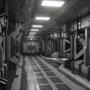 sci fi modular corridor 3D