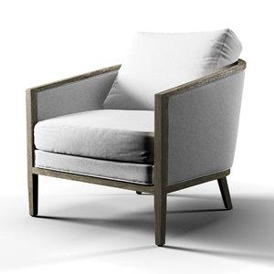 french barrelback chair 3D model