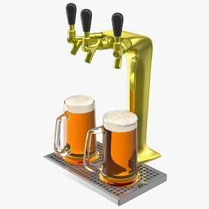 triple tap brass draft beer 3D model