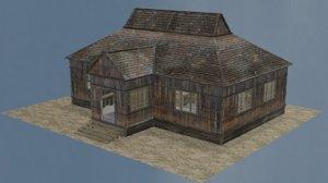 3D model house wood wooden
