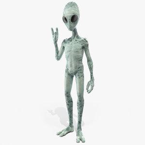 extraterrestrial alien greeting pose 3D model