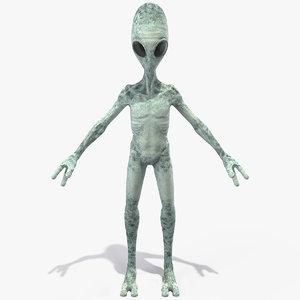 3D extraterrestrial alien t pose
