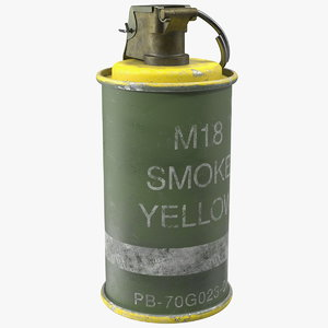 3D m18 smoke grenade yellow model