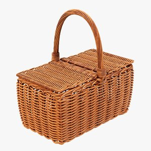 3D wicker basket picnic