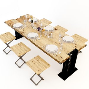 vintage dining tables 3D model
