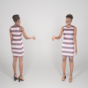 3D young woman african dressed model
