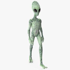 3D green alien walking pose model
