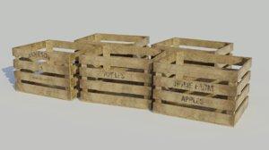 3D model wooden fruit crate old
