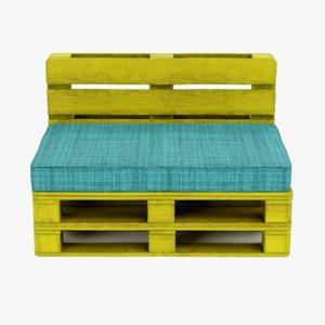 pallet chair yellow 3D