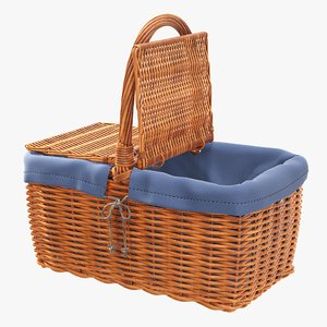wicker basket picnic 3D model