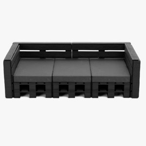 pallet sofa black 3D model