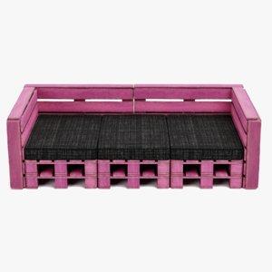 3D pallet sofa pink model