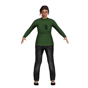 low-poly white girl model
