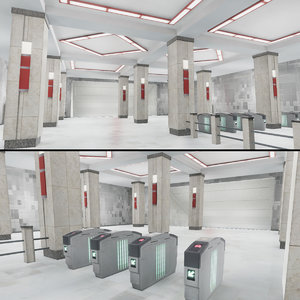 3D subway stations pack vol model