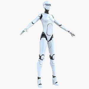 3D model female cyborg robot