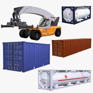 3D model reachstacker container