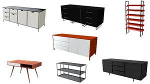 3D shelves credenza cabinet shelf model