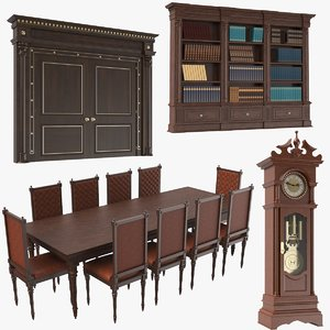 real wooden classic furniture 3D model