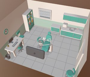 cartoon dental office 3D model