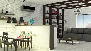 dinning living room 3D model