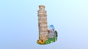 3D leaning tower pisa italy model