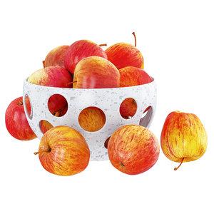 red apples decorative vase 3D model