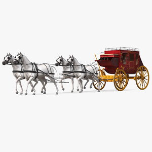 horses stagecoach stage 3D model