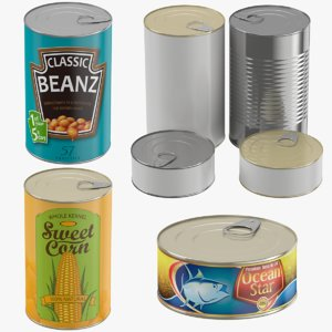 3D tin canned corn