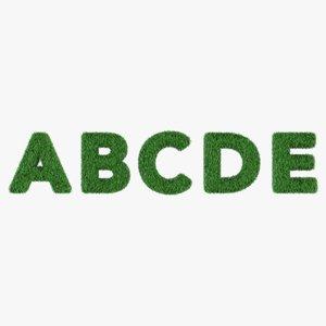 grass alphabet 3D model