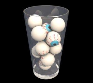 3D model eyeballs glass