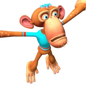 3D cartoon monkey character