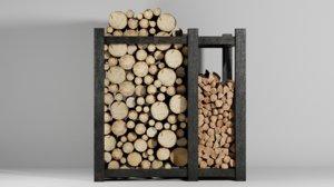 3D wood logs