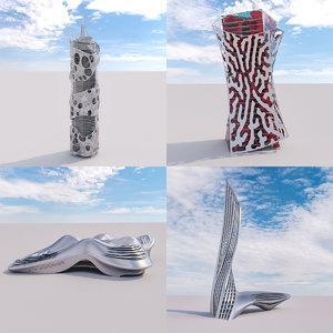 3D futuristic building 4x 5