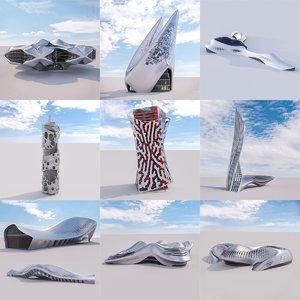 3D model futuristic building 9x 2