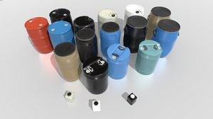 pack industrial barrels 3D