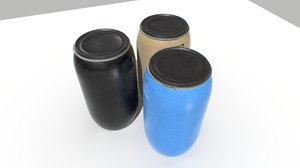 3D industrial 3 barrels