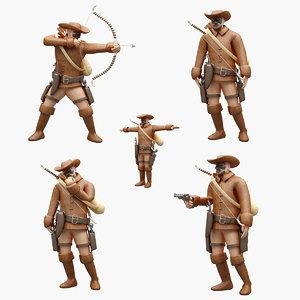 cowboy pose 3D model