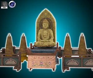 3D tian buddha statue model